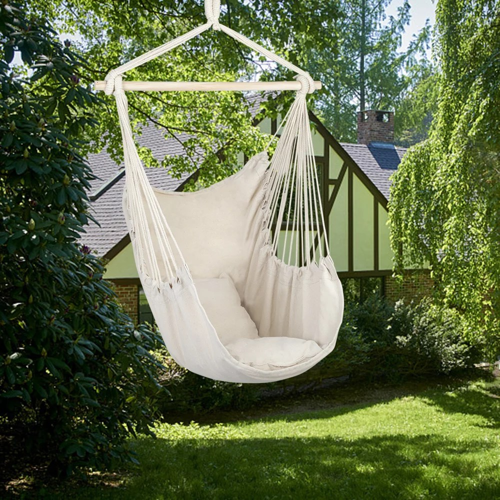 veryke hammock hanging rope chair cotton canvas hanging bubble chair porch swing seat swing chair camping portable for patio deck yard indoor