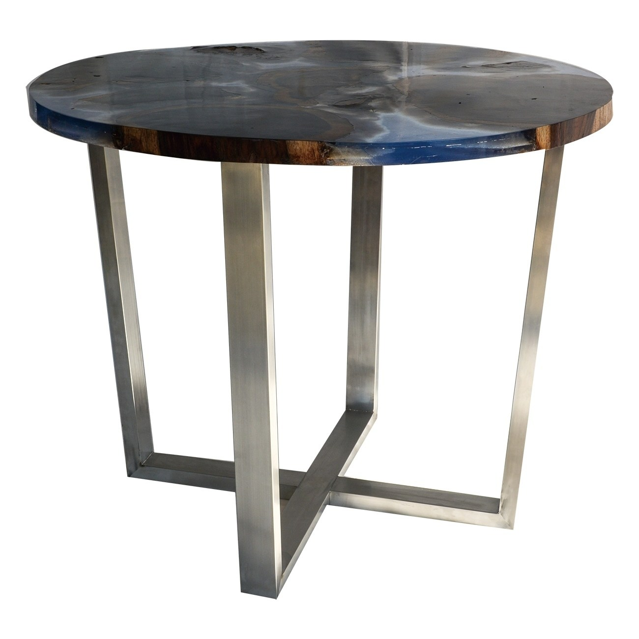 a b home round wood tall coffee table with blue resin and steel legs