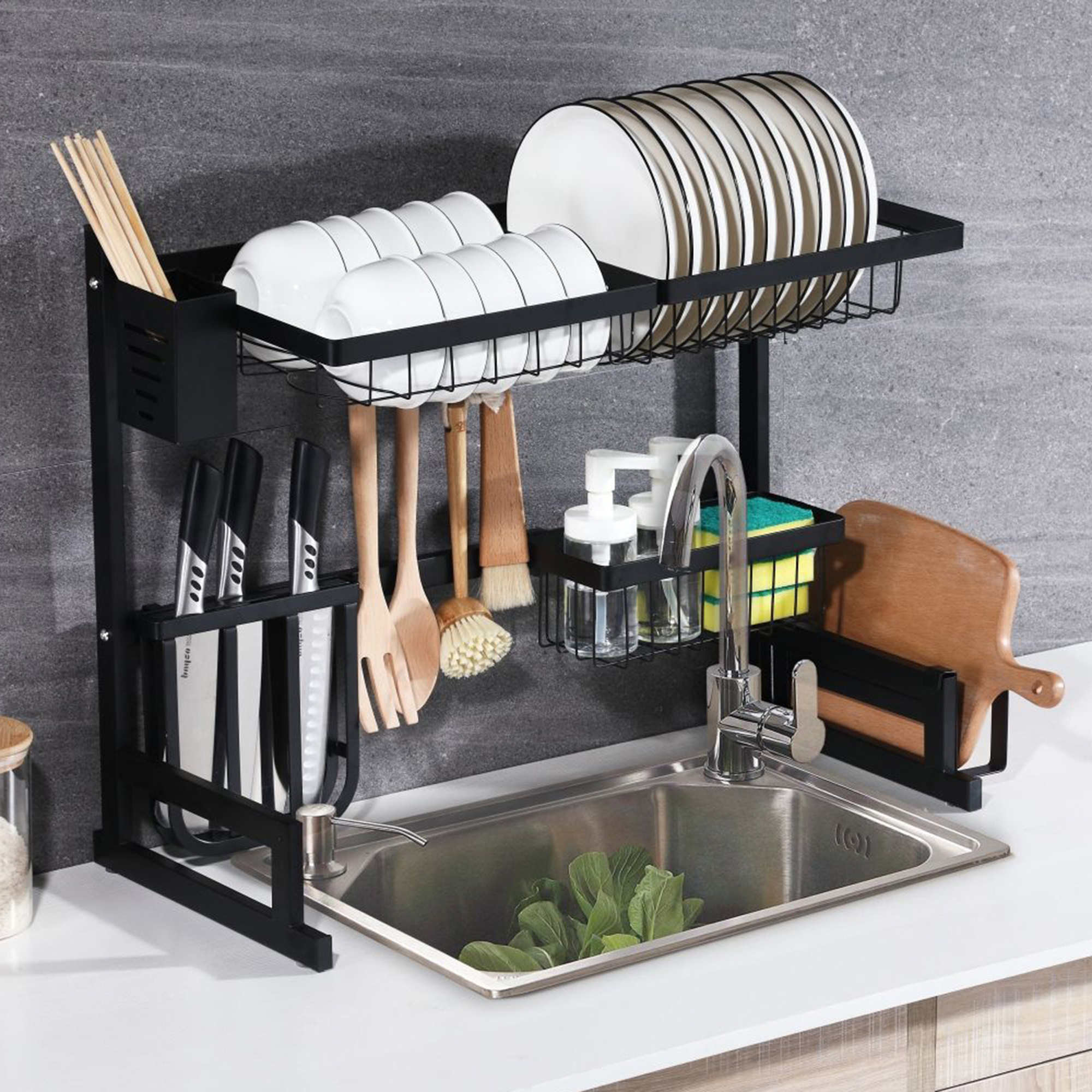 kitchen over the sink dish drying rack 201 stainless steel dish rack with utensil holder hooks cup hanging non slip dish drying rack with stable
