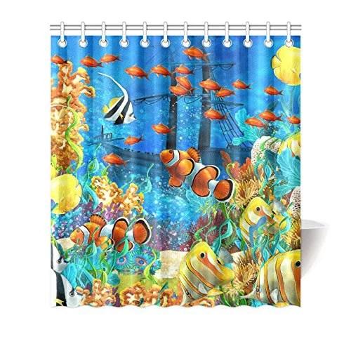 mkhert tropical coral reef fishes ocean sea life house decor shower curtain for bathroom decorative fabric bath curtain set 66x72 inch