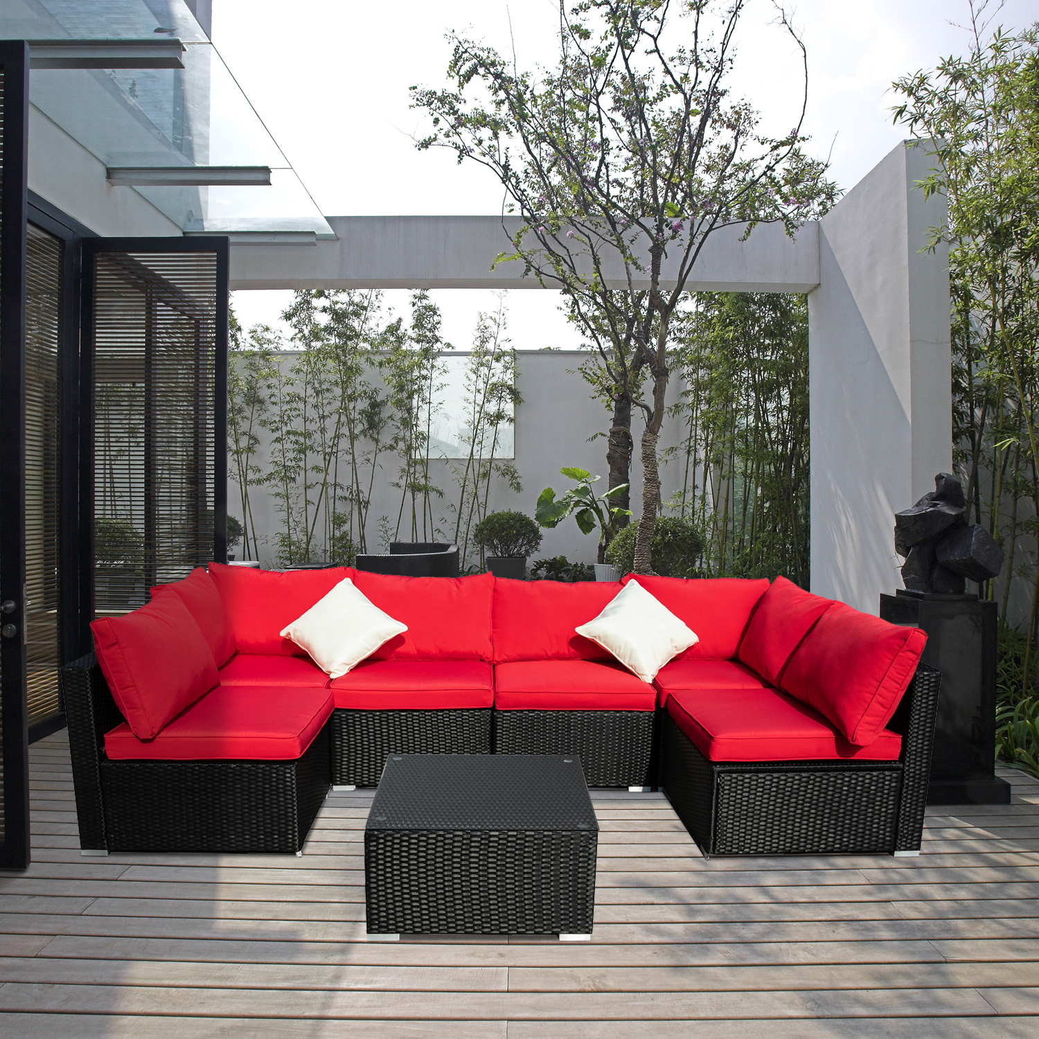 ainfox 7 pieces outdoor patio furniture sets steel frame pe rattan wicker sectional conversation sofa sets red
