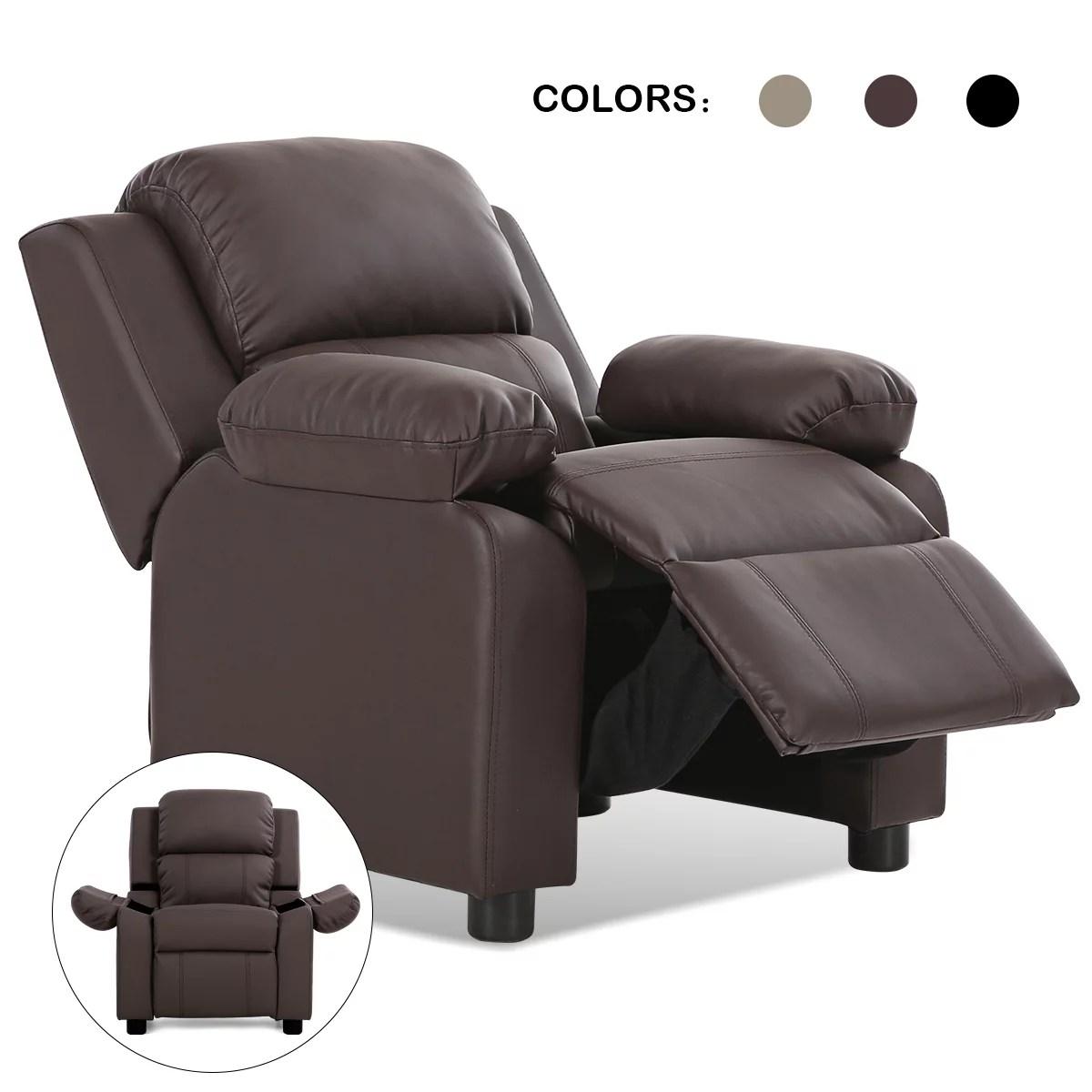 deluxe padded kids sofa armchair recliner headrest children w storage arm brown