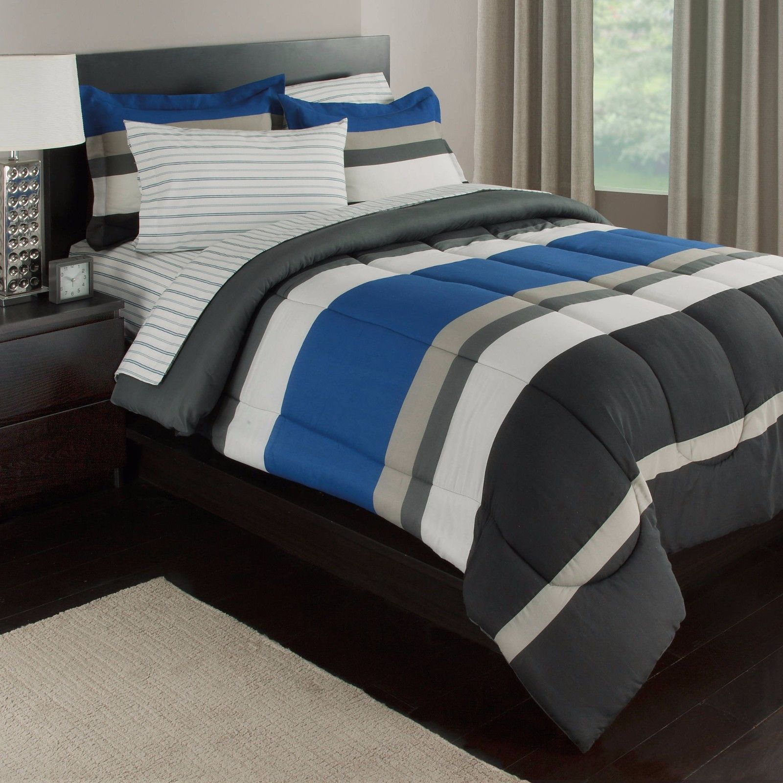 blue white gray stripes boys teen twin comforter set 5 piece bed in a bag