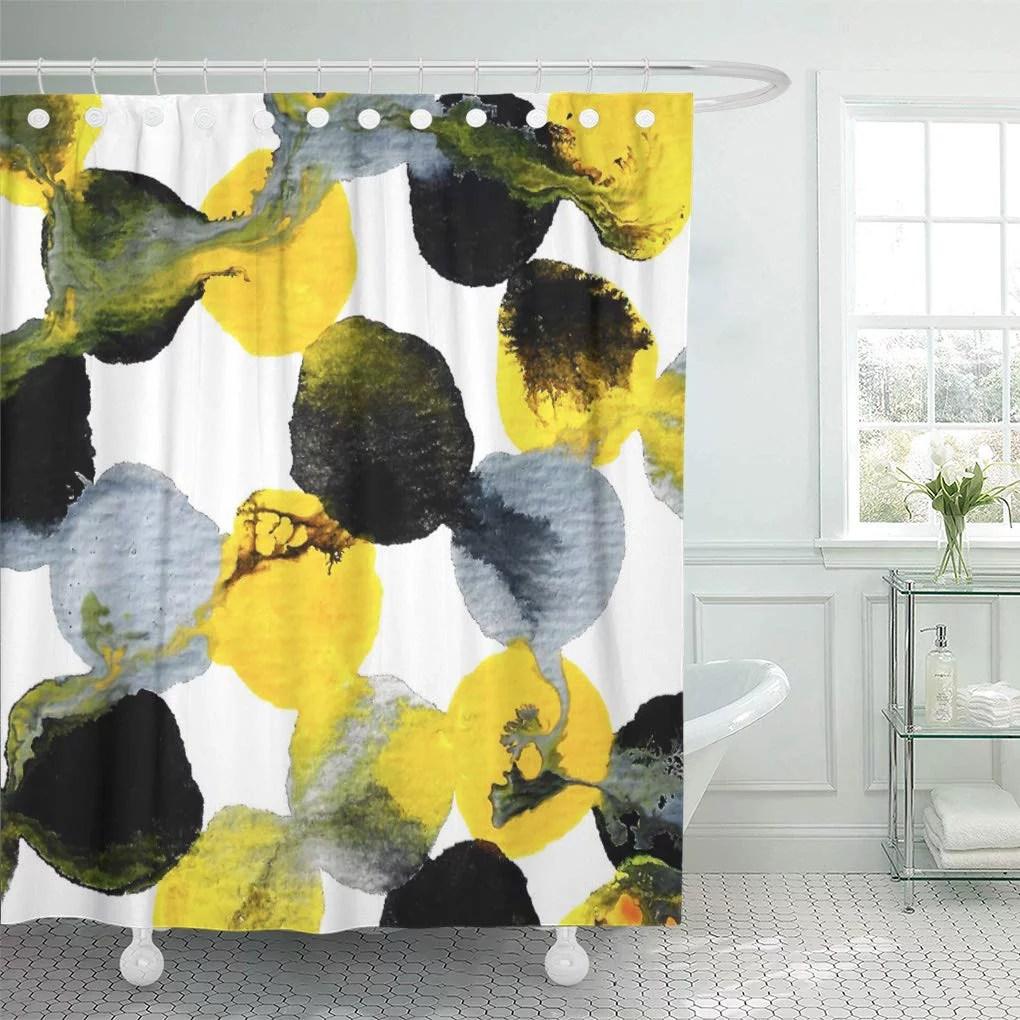 cynlon abstract yellow gray and black pattern home office flowing bathroom decor bath shower curtain 66x72 inch walmart com