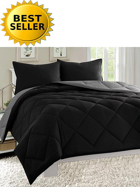 down alternative 3pc comforter set king cal king black gray
