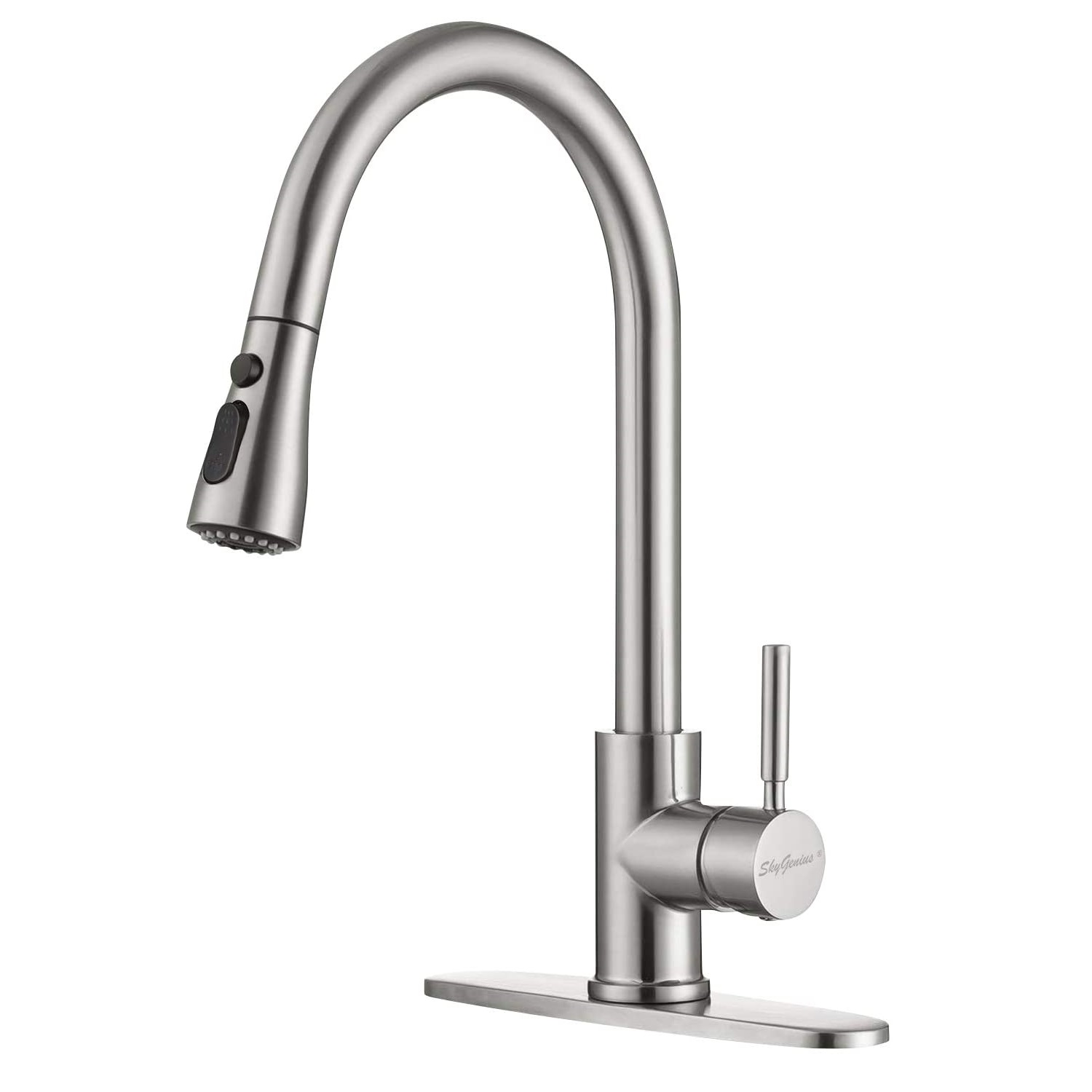 skygenius pull down kitchen faucet with sprayer single handle sink faucet brushed nickel for kitchen