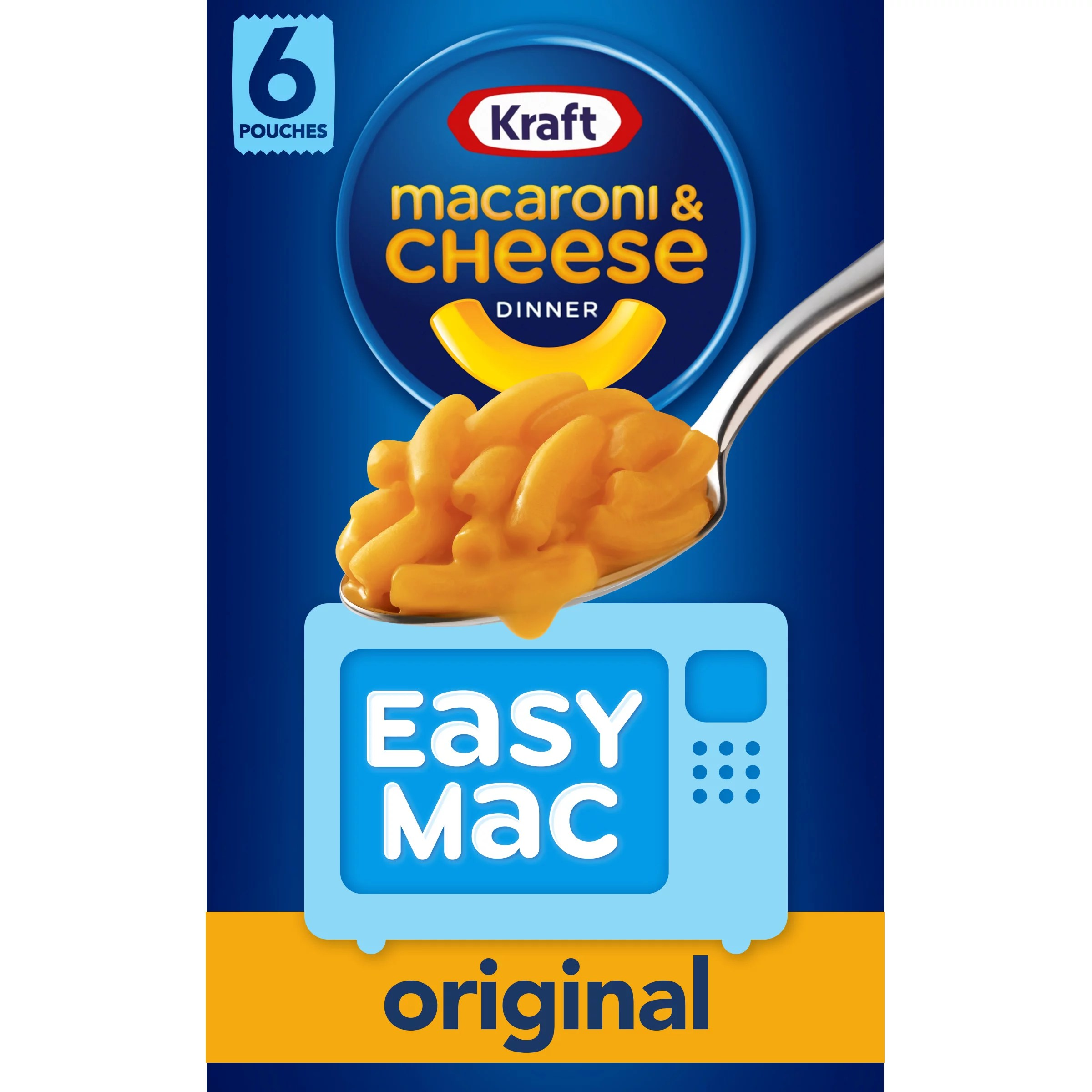 kraft easy mac original macaroni cheese microwavable dinner 6 ct packets walmart com