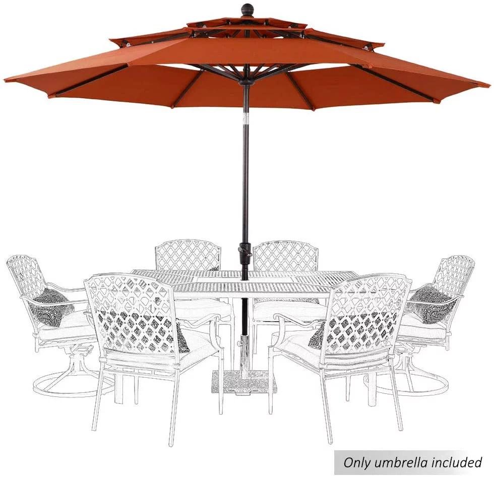 mf studio 10ft patio umbrella outdoor 3 tier vented table umbrella with 8 sturdy ribs orange red