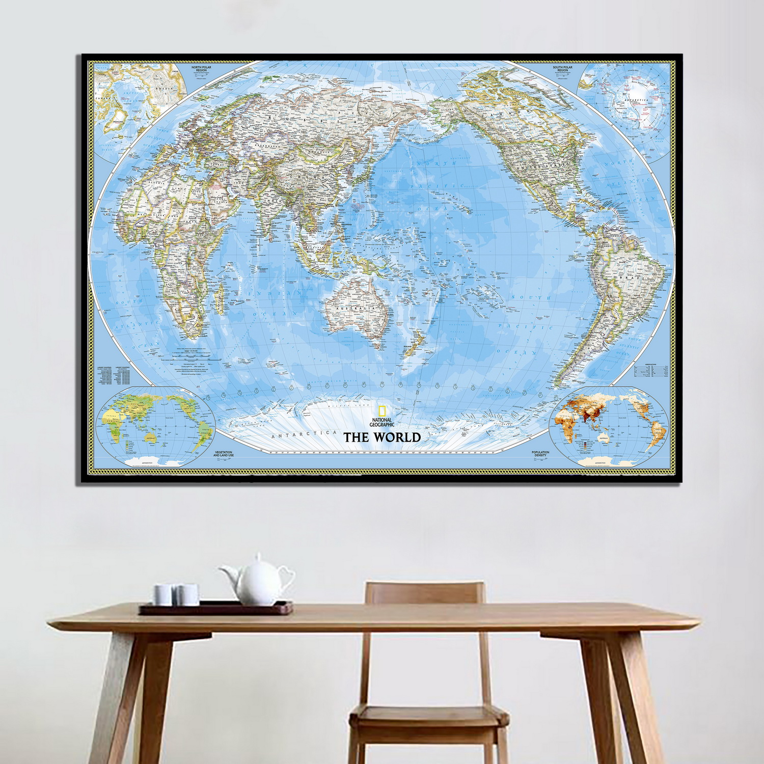 88 5 X 59 World Classic Pacific Centered Wall Map Poster
