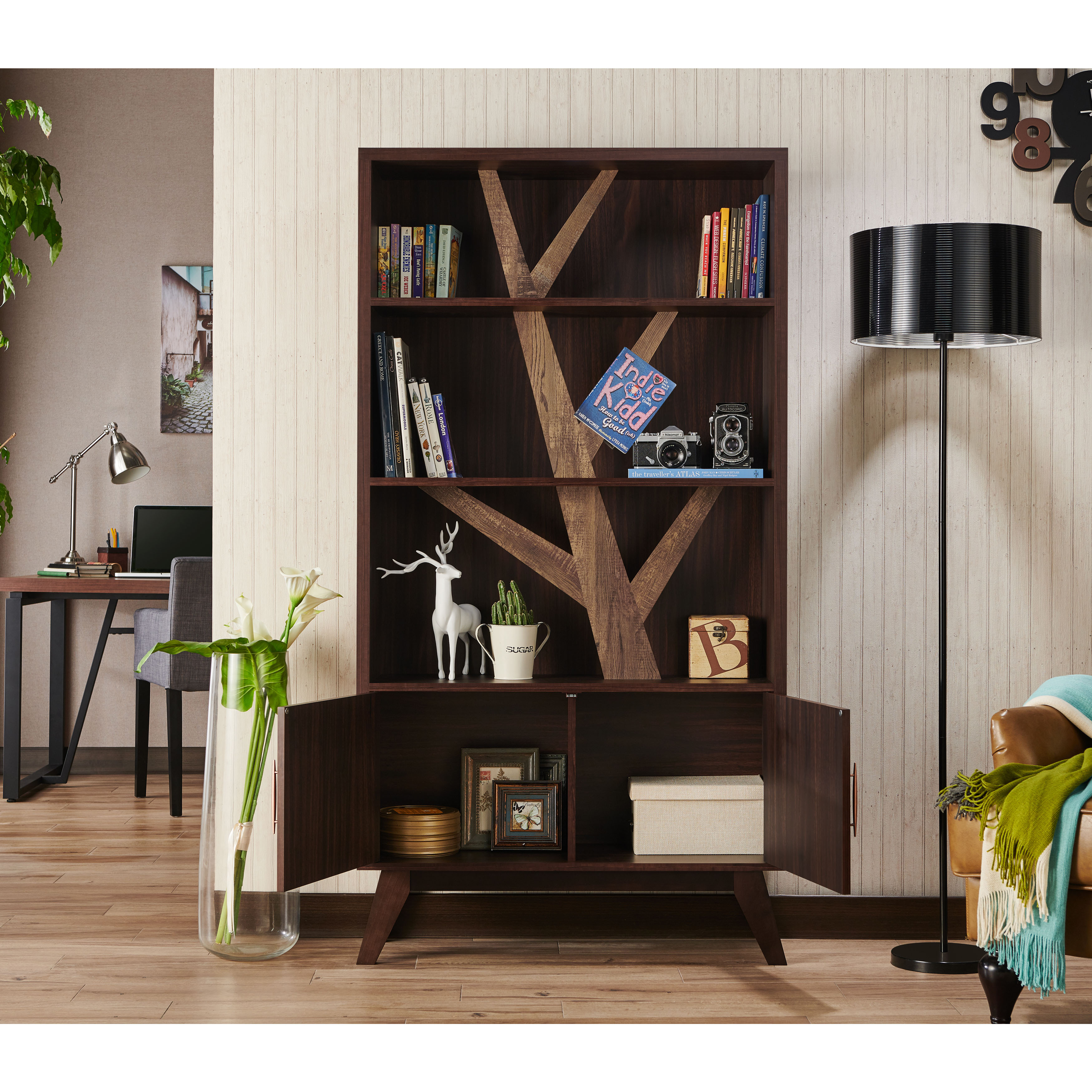 Rina Contemporary Wooden Tree Bookcase With Cabinet Wenge