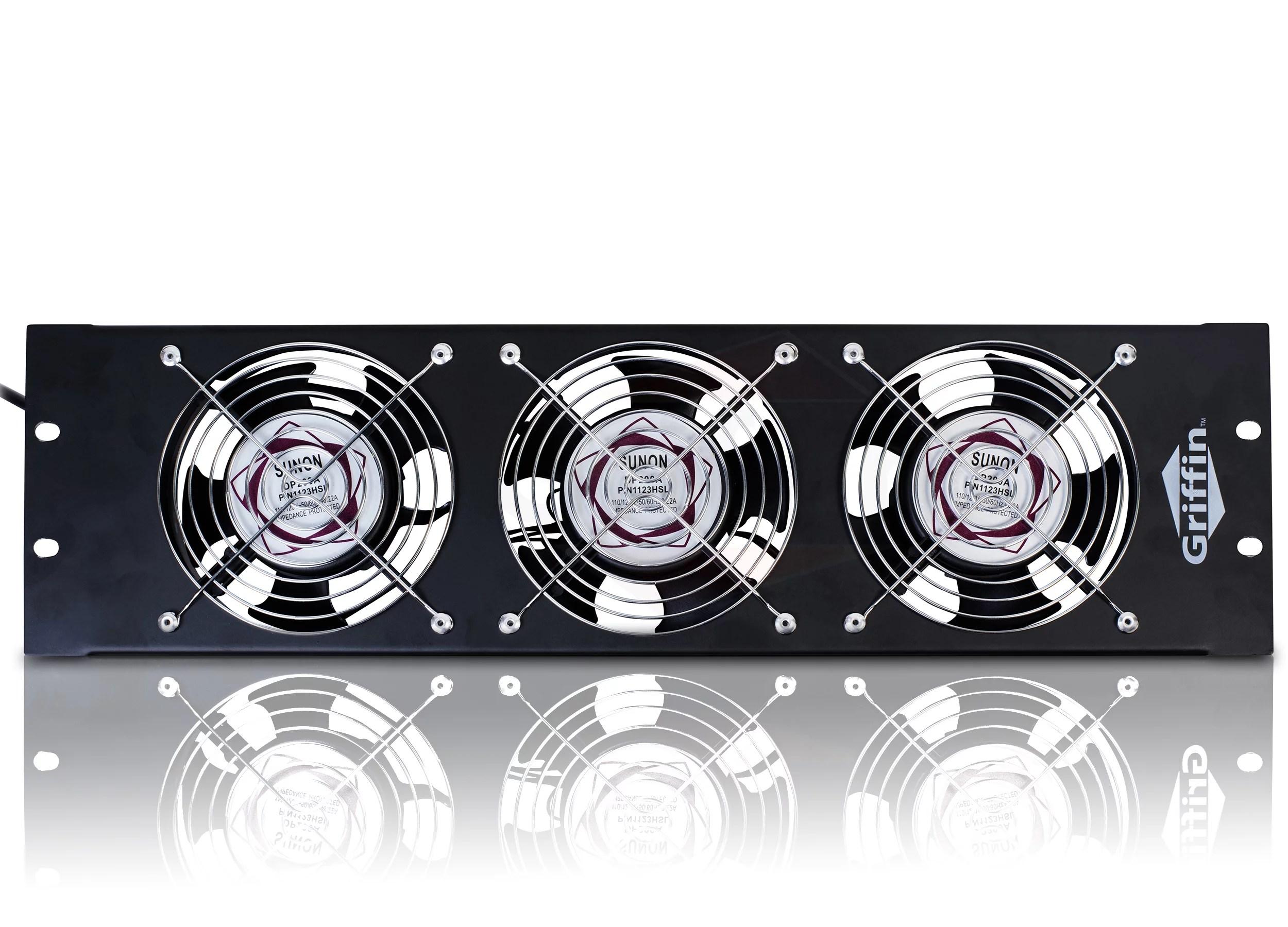 griffin rackmount cooling fan 3u ultra quiet triple exhaust fans keep studio audio equipment gear cool rack mount on network it system server rails