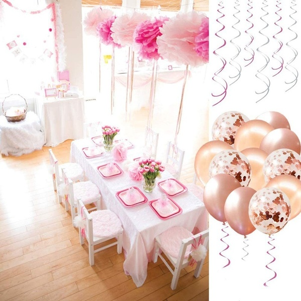 41pcs Birthday Decorations Pink Rose Gold Gray Blue Happy Birthday Banner Hanging Swirls Birthday Party With Flower Ball Confetti Balloons With Banner Walmart Com Walmart Com