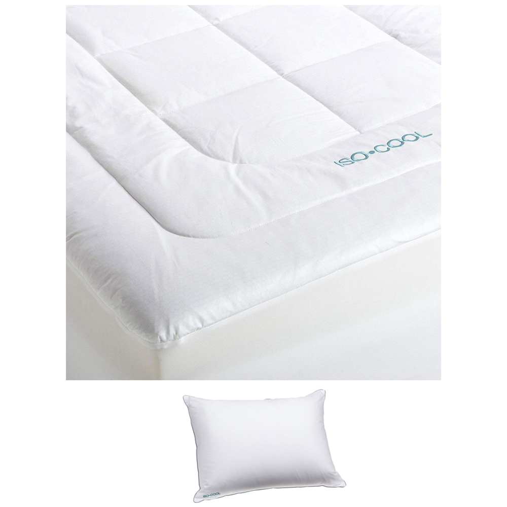 sleepbetter iso cool memory foam mattress topper queen with isotonic iso cool polyester pillow queen walmart com