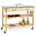 Best Choice Products 3 Tier Wood Rolling Kitchen Island Utility Serving Cart W Stainless Steel Countertop Walmart Com Walmart Com