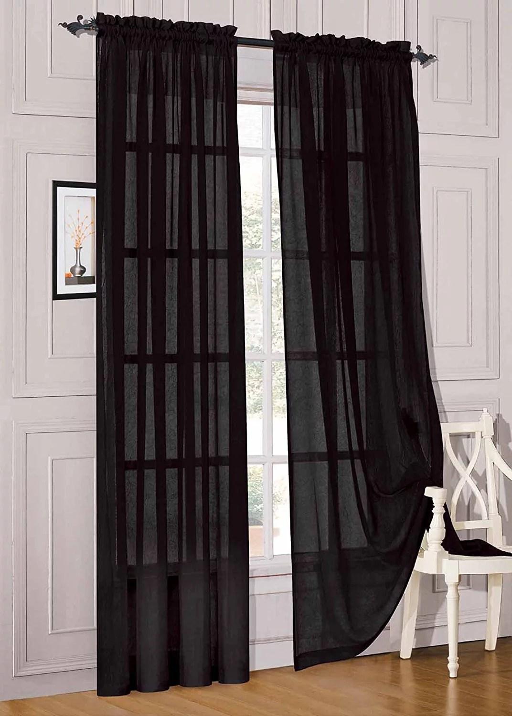 elegant comfort 2 piece solid sheer panel with rod pocket window curtain 60 inch width x 84 inch length black walmart com