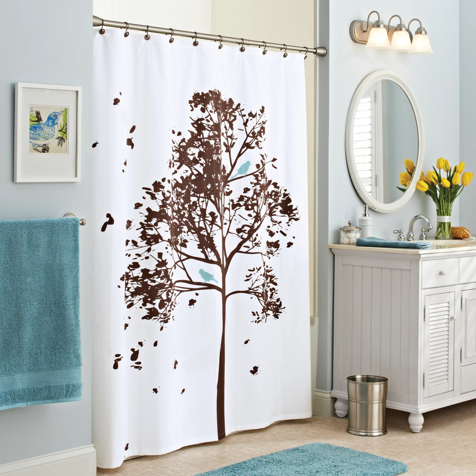 better homes gardens farley tree fabric shower curtain brown 70 x 72