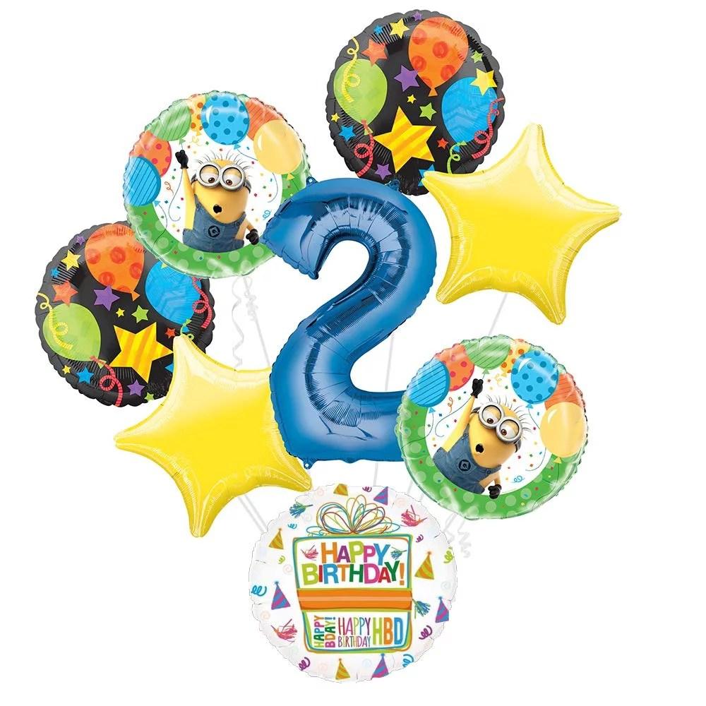 Despicable Me Minions 2nd Birthday Party Supplies Balloon Bouquet Decorations Walmart Com Walmart Com