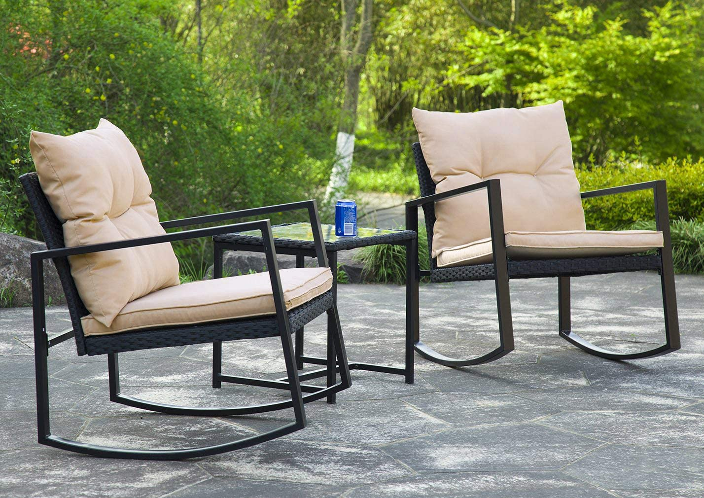 3 pieces patio set outdoor patyo patio furniture sets rocking chair bistro set rattan chair conversation sets garden porch furniture sets with coffee