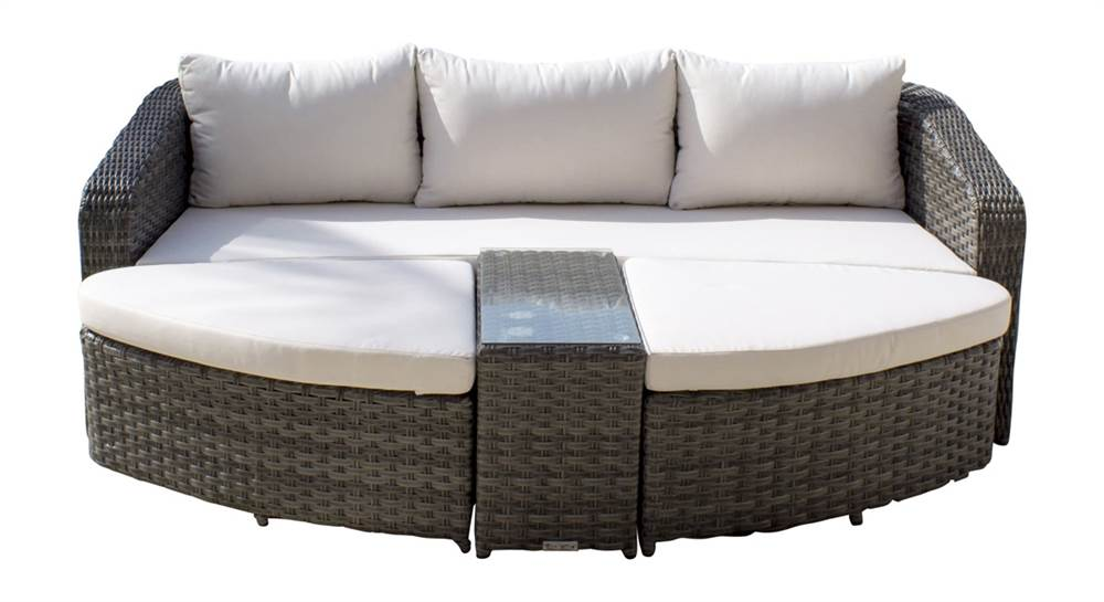 4 pc outdoor daybed set with cushions in gray sunbrella dolce oasis