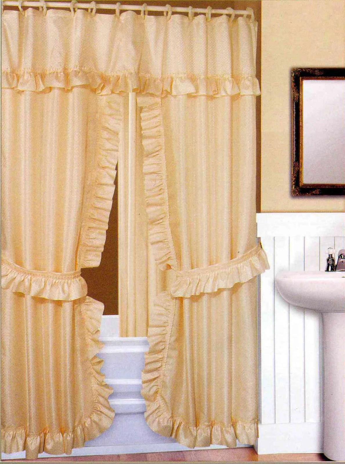 double swag fabric shower curtain vinyl liner shower rings dobby dot design beige