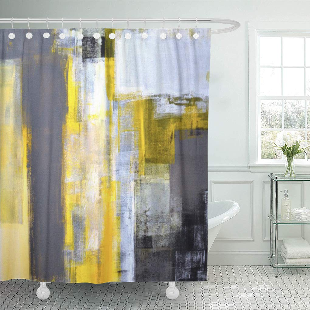 cynlon black busy grey and yellow abstract white modern bathroom decor bath shower curtain 66x72 inch