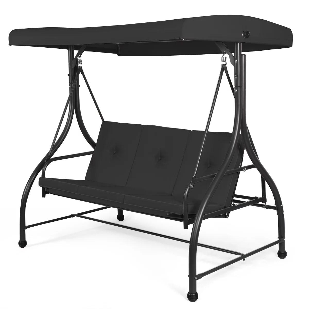 converting swing canopy hammock 3 seats patio deck furniture black