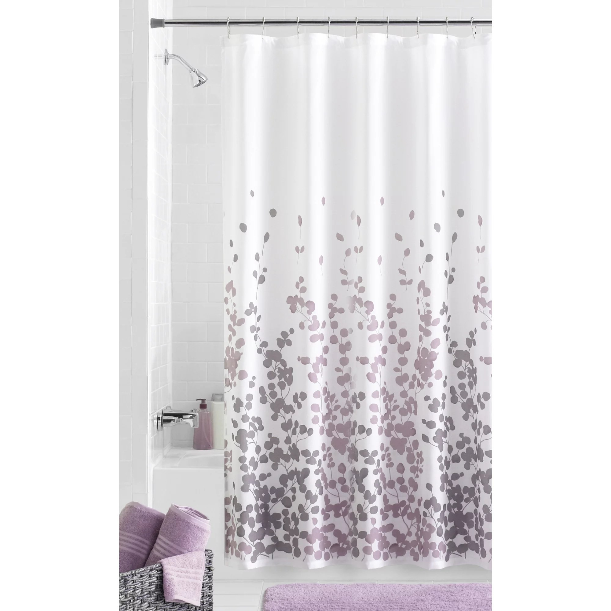 mainstays sylvia faux silk purple grey and white fabric shower curtain 70 x 72
