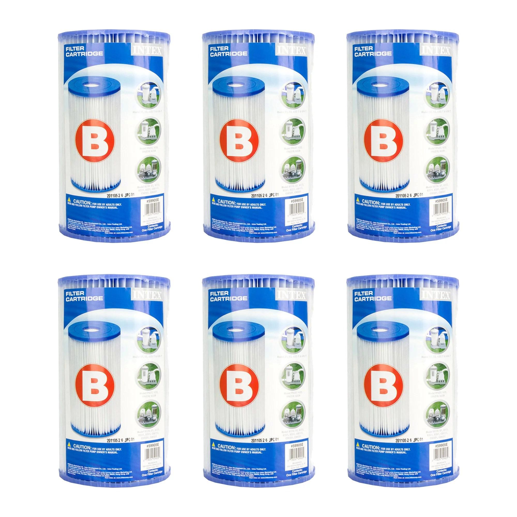 Intex Pool Easy Set Type B Replacement Filter Pump Cartridge | 29005E (6 Pack)