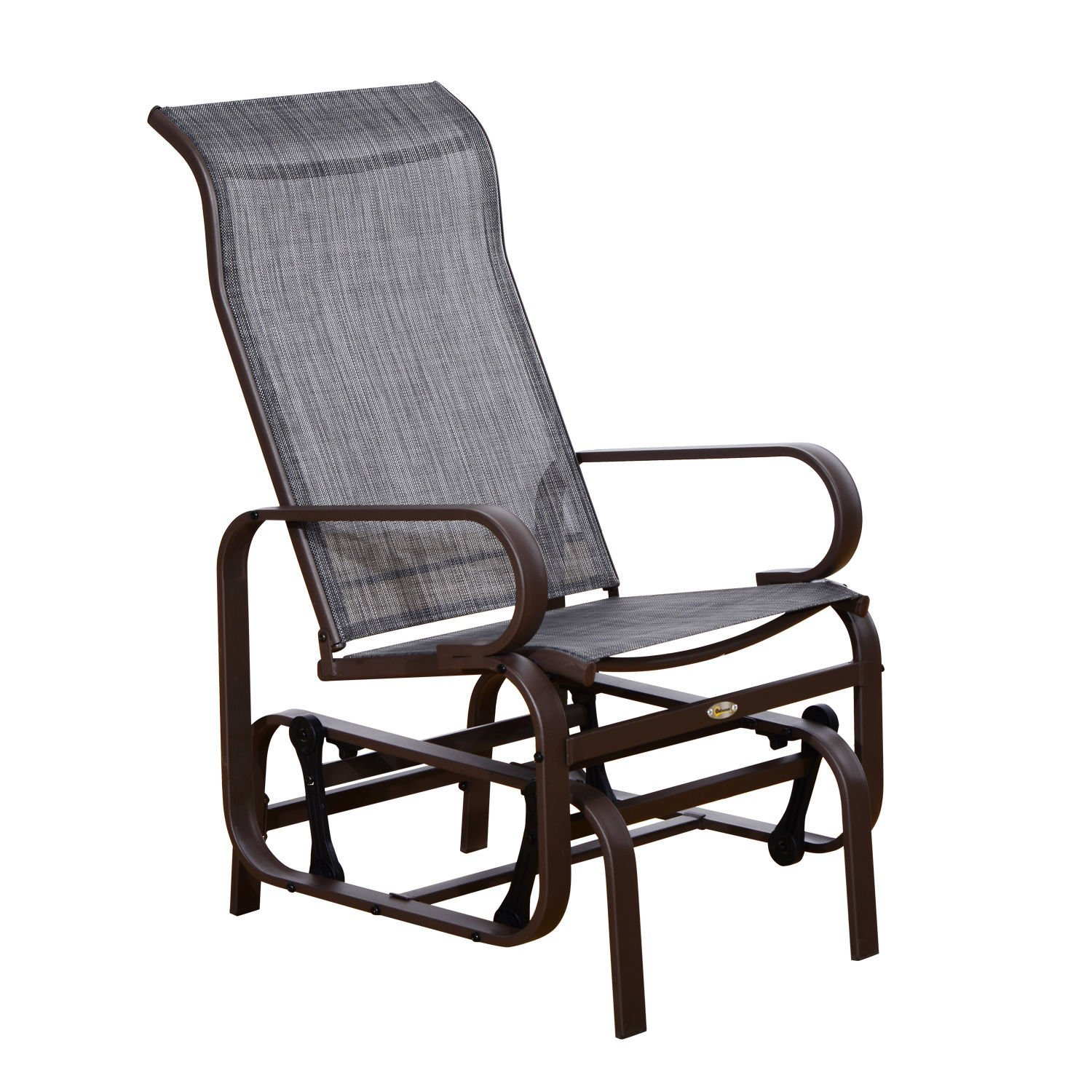 outsunny swinging glider lounging chair w smooth rocking arms lightweight construction for patio backyard