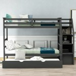 Twin Bunk Bed Trundle Bunk Bed With Size Trundle And 3 Storage Stairs Walmart Com Walmart Com