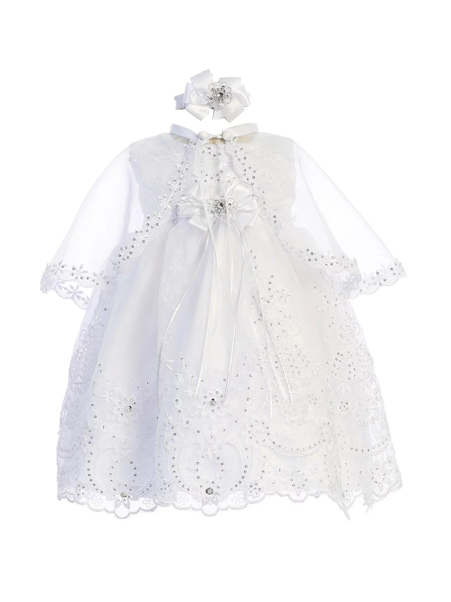 Angels Garment White Organza Headband 2 Pc Baptism Cape