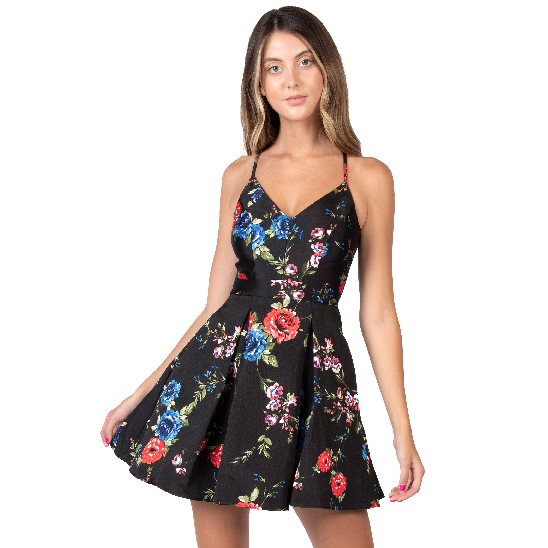 juniors b smart floral spaghetti strap dress
