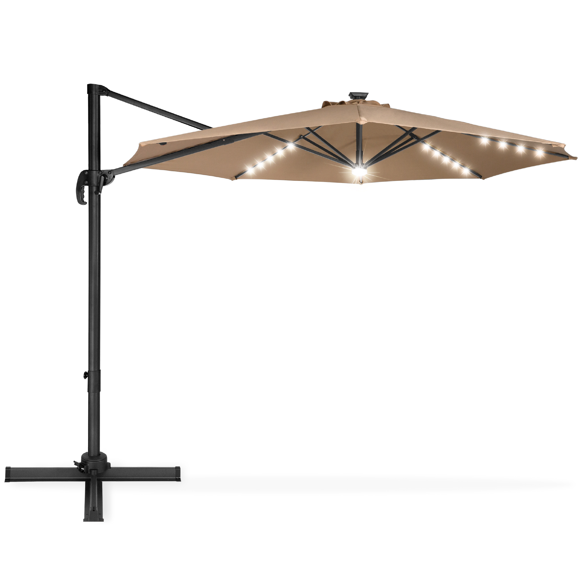 best choice products 10ft 360 degree led cantilever offset hanging market patio umbrella w easy tilt tan