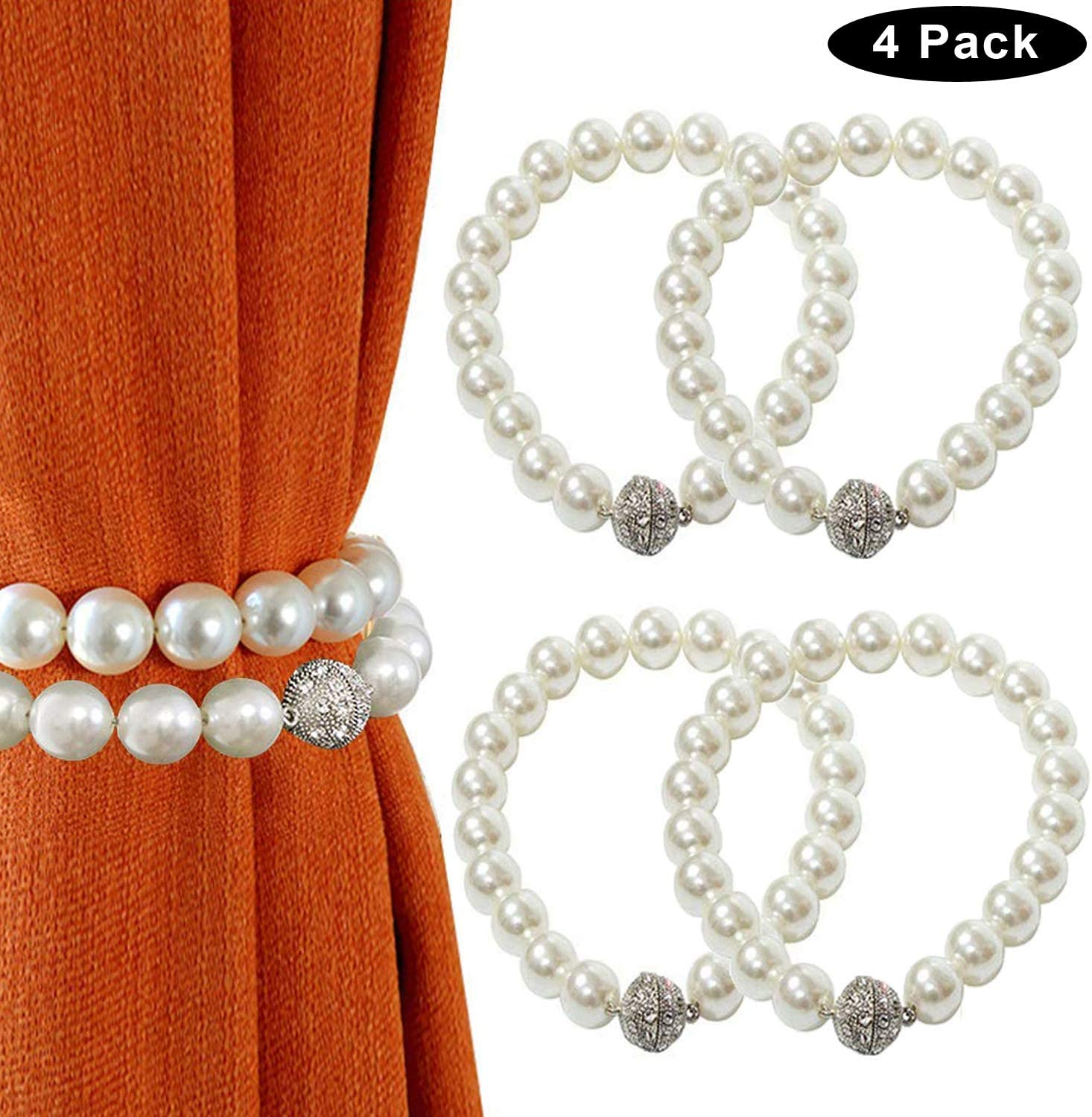 magnetic curtain tiebacks decorative pearl style curtain holdbacks clips elegant window draperies rope ties fit all curtains 4 white