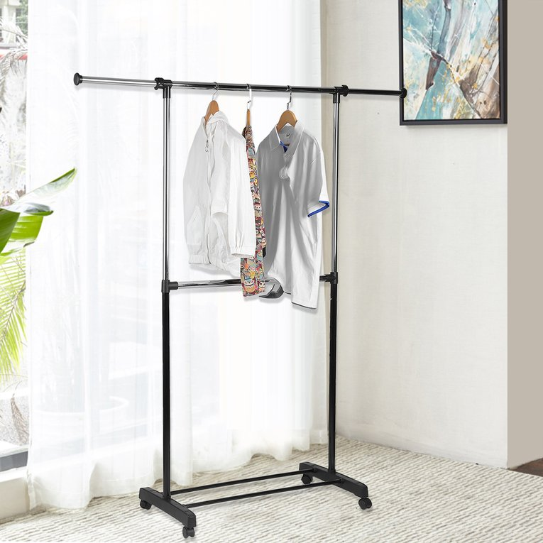 mainstays adjustable 2 tier rolling garment rack adjustable design
