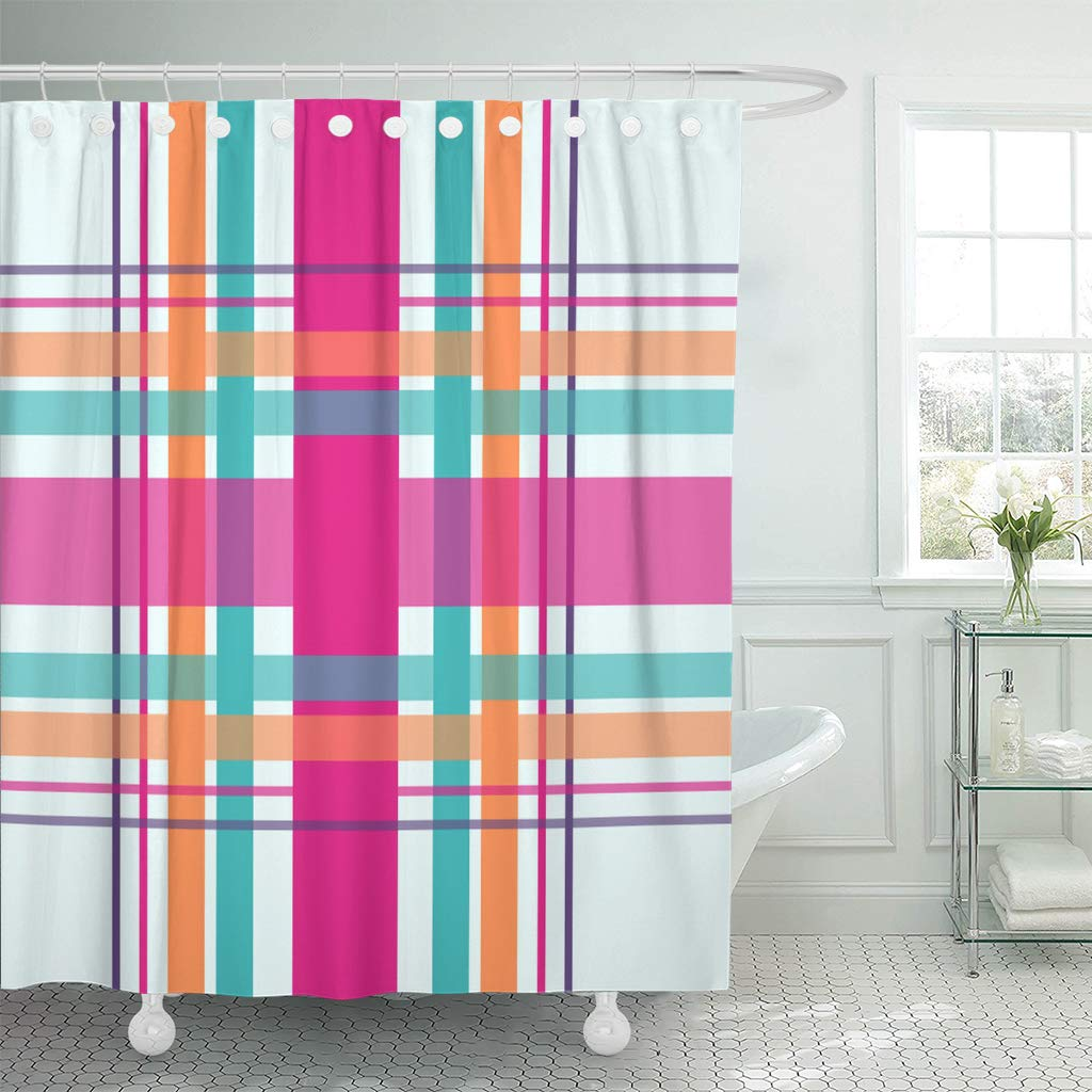 ksadk plaid checkered in bright colors of teal magenta pink orange and purple shower curtain bathroom curtain 66x72 inch walmart com