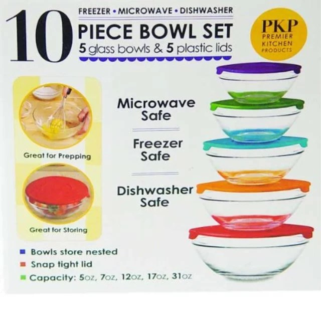 10 piece glass bowl set with lids microwave freezer and dishwasher safe