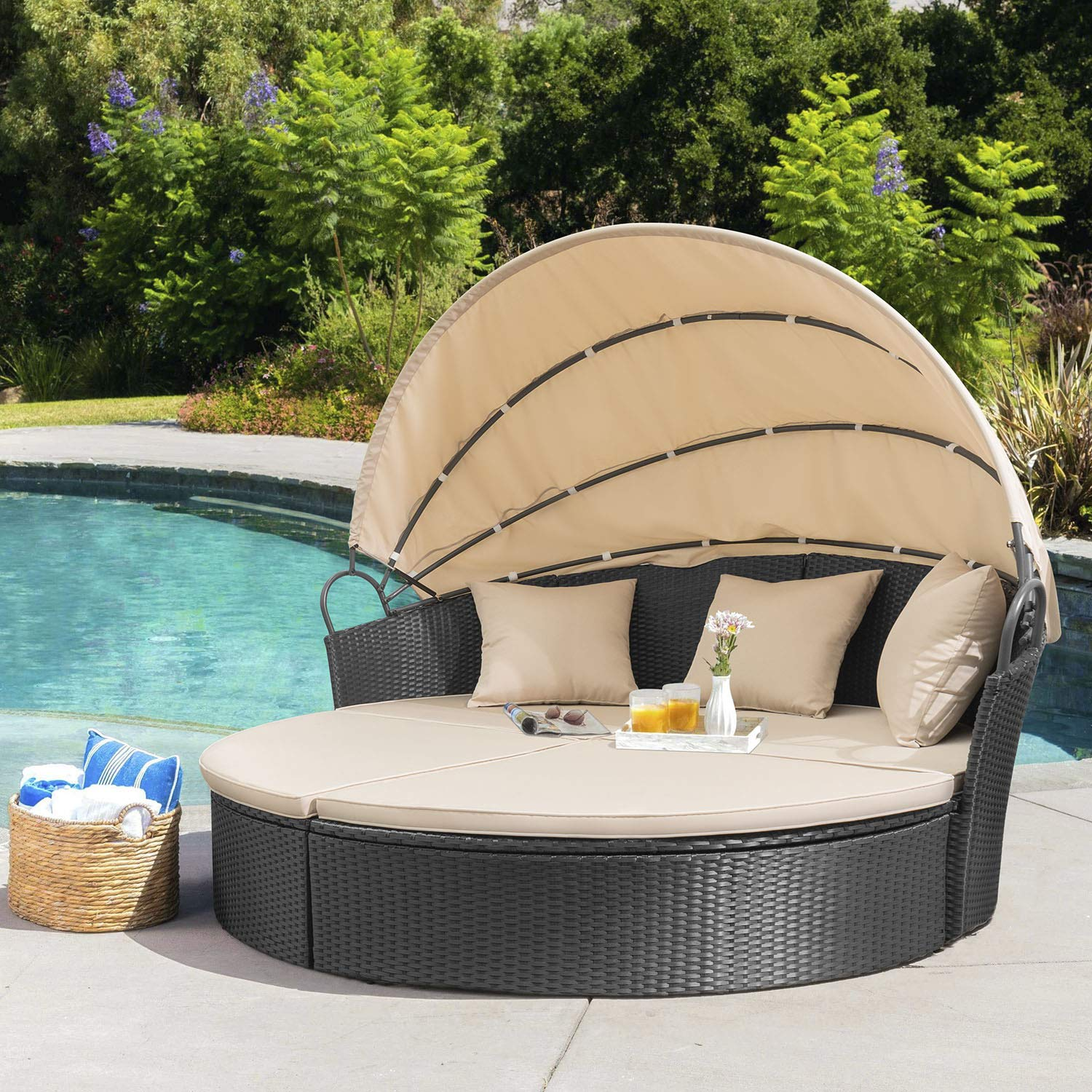 lacoo outdoor patio round daybed with retractable canopy wicker furniture sectional seating with beige washable cushions for patio backyard porch pool