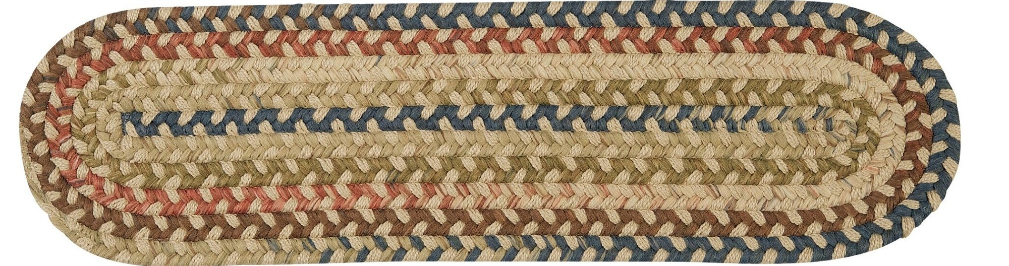 28 Beige Green And Blue Handmade Braided Stair Tread Rug   Braided Stair Tread Rugs   Olive Burgundy   Tree Hill   Rhody Rug   Shape Oval   Indoor Outdoor