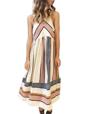 Womens Holiday Boho Sleeveless Ladies Loose Summer Beach Midi Swing Sun Dress