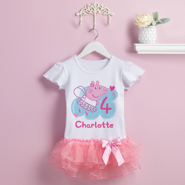 Peppa Pig Personalized Peppa Pig Toddler Girls Birthday Tutu T Shirt 2t 3t 4t 5 6t Walmart Com Walmart Com