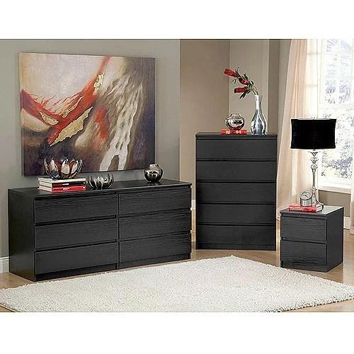 laguna double dresser 5 drawer chest and nightstand set black woodgrain
