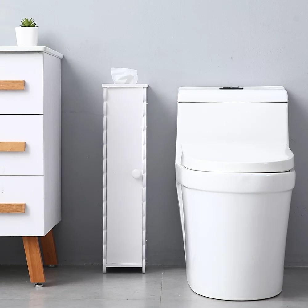 Topcobe Small Bathroom Storage Corner Floor Cabinet With Doors And Shelves Thin Toilet Vanity Cabinet Narrow Bath Sink Organizer Towel Storage Shelf For Paper Holder Walmart Com Walmart Com