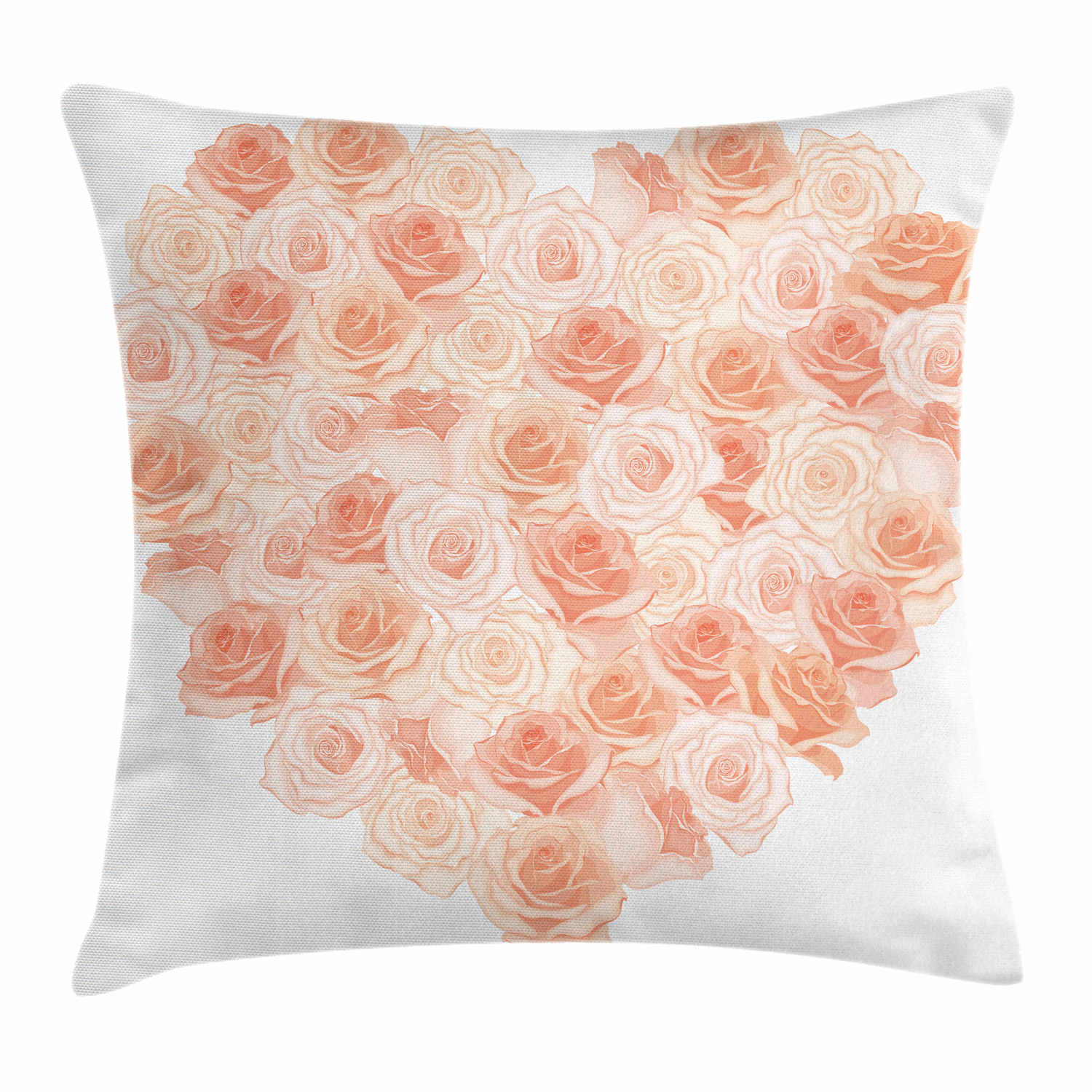 peach throw pillow cushion cover valentines day inspired heart shaped blooming roses bouquet with romantic design decorative square accent pillow