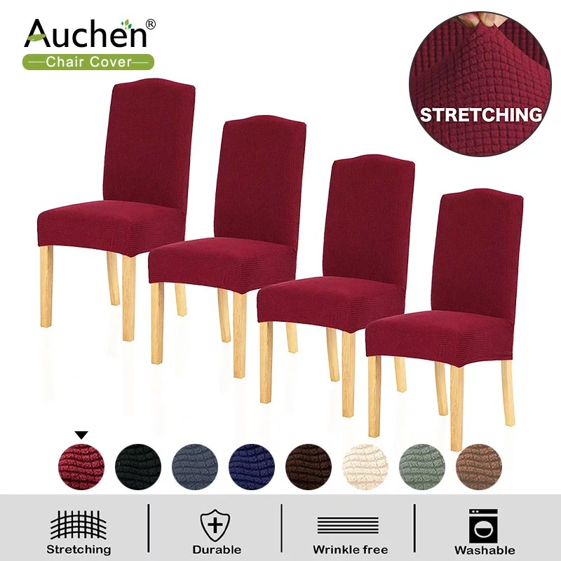Chair Slipcover Auchen Dining Chair Covers Set Of 4 Parsons Chair Slipcover Chair Covers For Dining Room Stretch Furniture Protector Covers For Restaurant Hotel Ceremony Wine Red Walmart Com Walmart Com