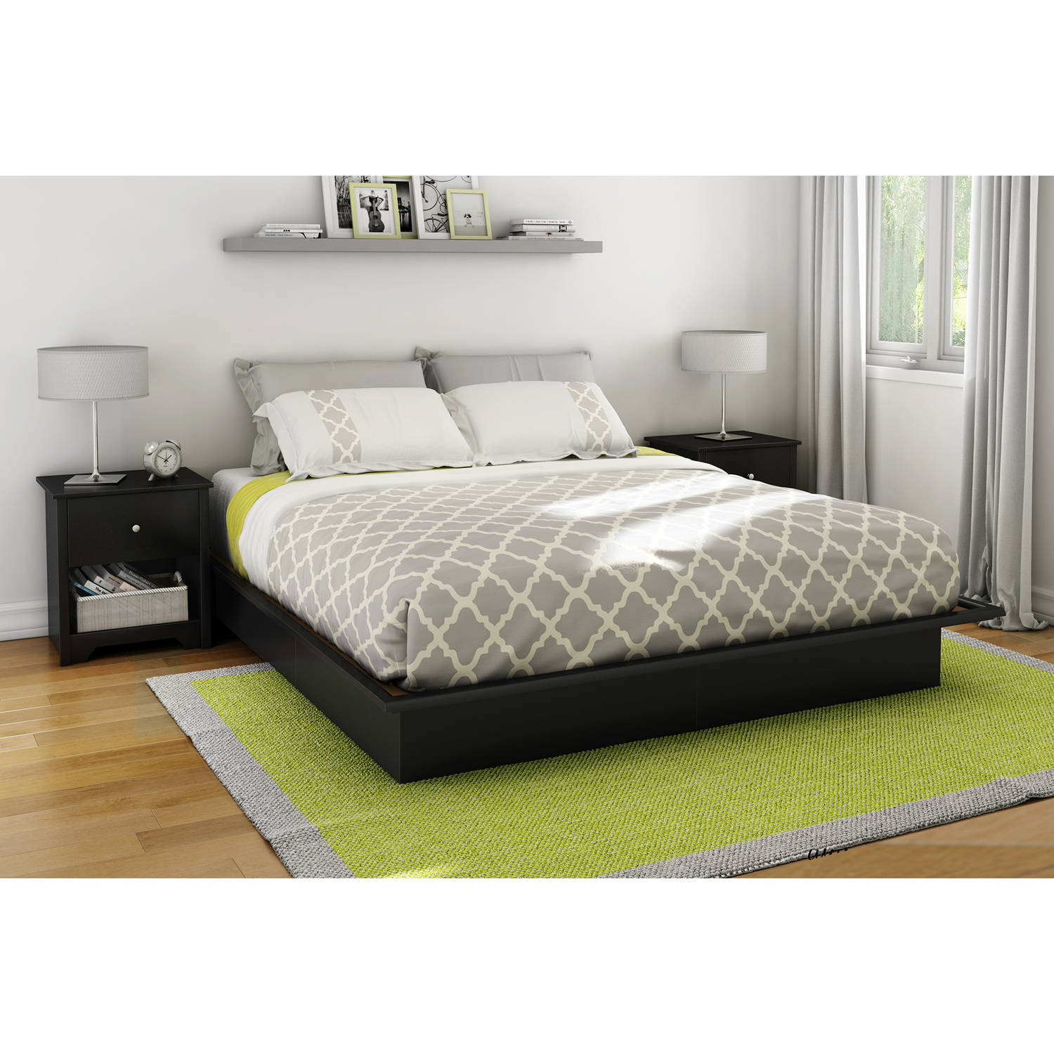 Queen Size Platform Bed Frame Bedroom Foundation Furniture