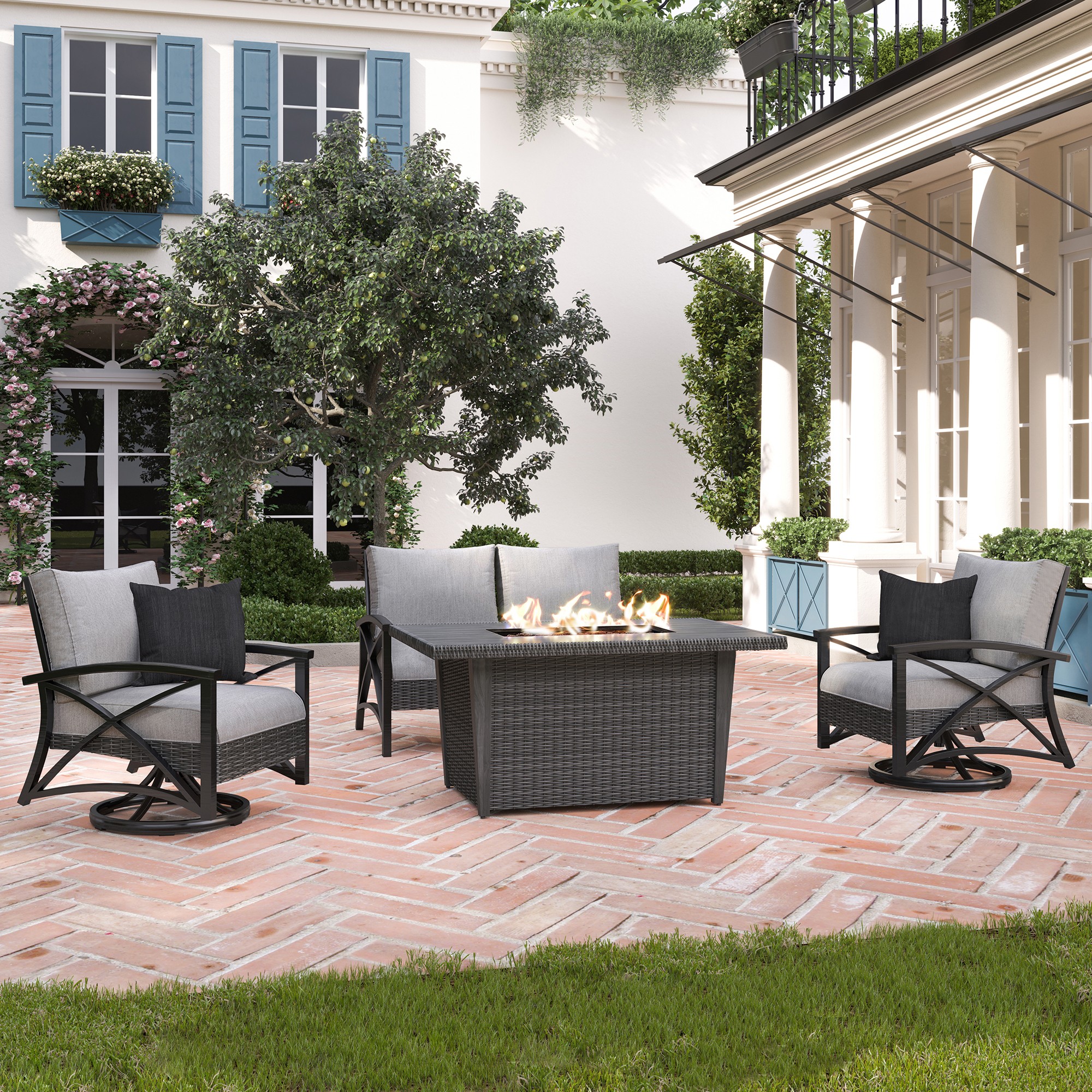 martha stewart lakeside 4 piece patio chat set with fire table