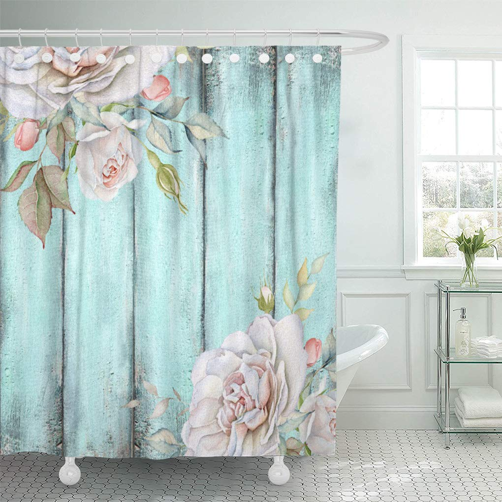 atabie teal rustic shabby country chic blue wood rose shower curtain 60x72 inch