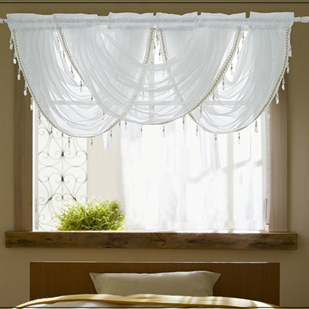ustyle waterfall window valance swags sheer curtains rod pocket single window panel curtain living room