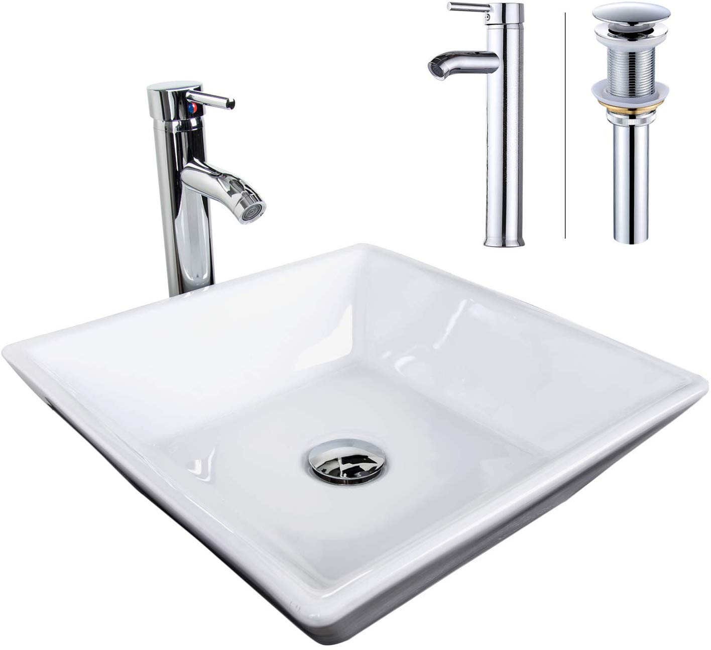 elecwish bathroom vessel sink with faucet combo with overflow ceramic square bowl square white